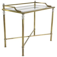 1970s French Brass and Glass Desk, Vanity or Console