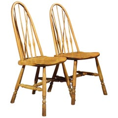 Pair of Elm Windsor Kitchen Dining Chairs Quality Arts & Crafts, circa 1900