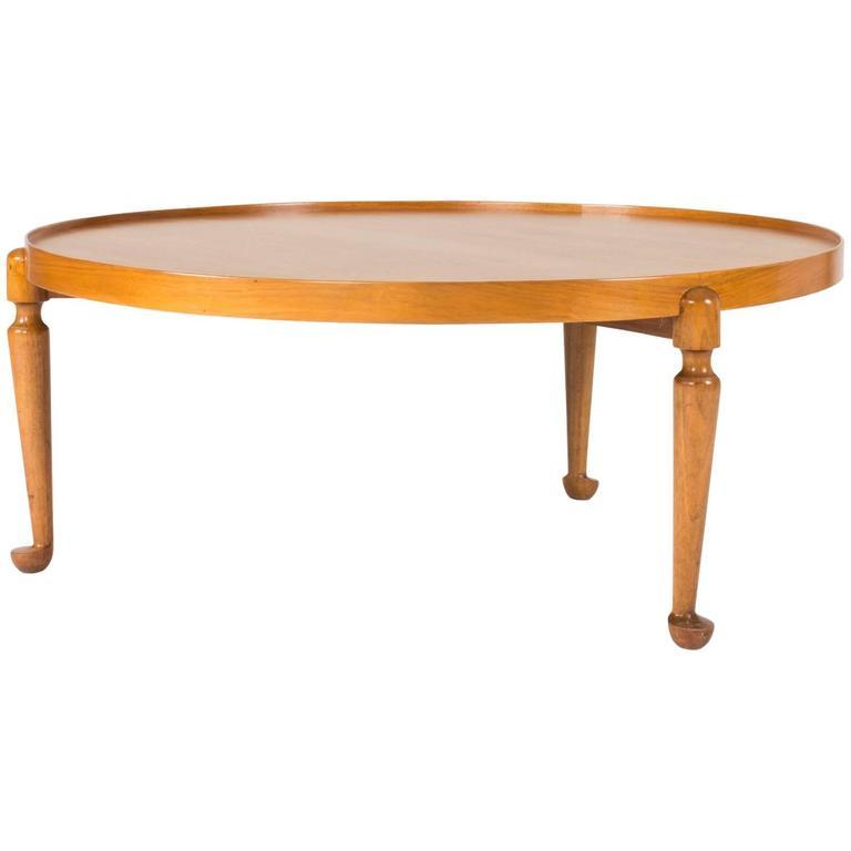 Beau Round Walnut Coffee Table By Josef Frank