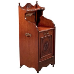 Antique Log Bin Coal Purdonium Cabinet Fire Side Hearth Store Walnut, circa 1910