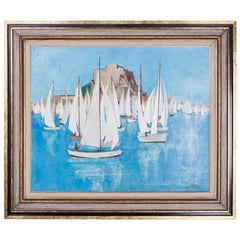 Mid-Century Modern Oil Painting on Canvas Depicting a Sailboat Race