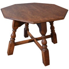 Antique Oak Table Low Side Occasional Coffee Lamp English Edwardian, circa 1910
