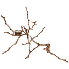 Bronze Cast Magnolia Twig Tealight Holder Polished, Tall