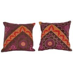 Early 20th Century Uzbek Pishkent Suzani Pillow Cases