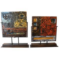 Vintage Artist Glazed Terracotta Tile on Museum Mount Frame