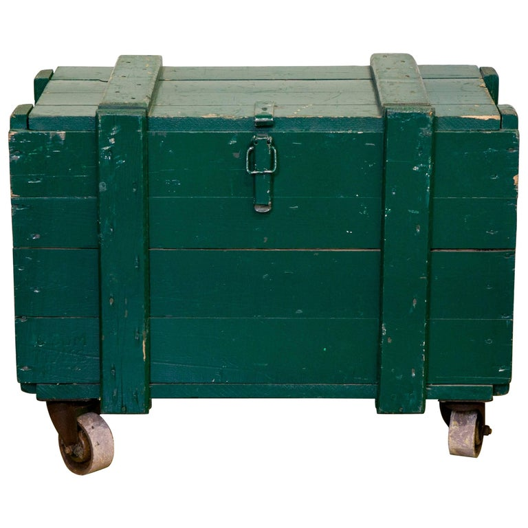 Vintage Green Wooden Trunks on Casters with Rope Handles and Hinged Lid 1