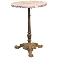 Unusual Rouge Griotte Marble-Top Iron Bistro Table from France, circa 1890