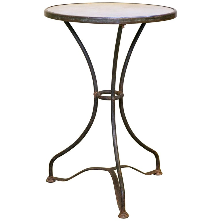 Marble-Top Iron Bistro Table from France, circa 1900 1