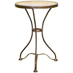 Marble-Top French Iron Bistro Table with Brass Band, circa 1910