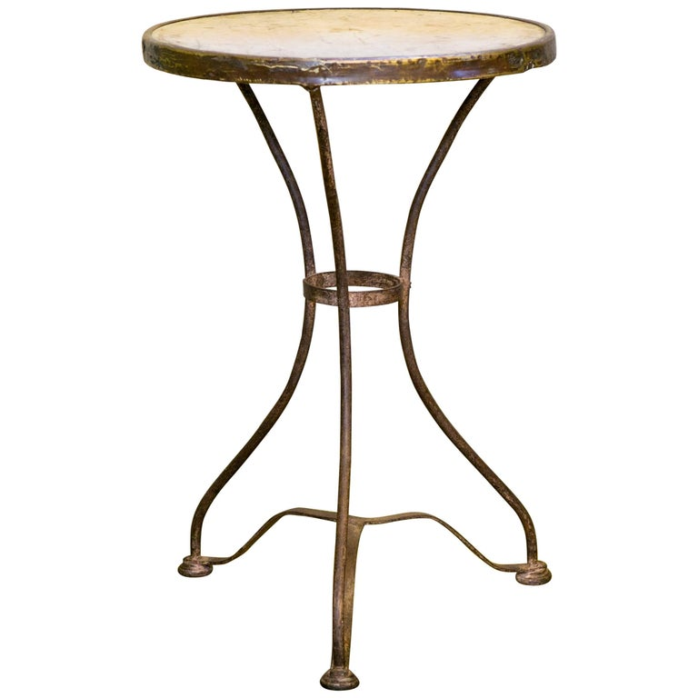 Marble-Top French Iron Bistro Table with Brass Band, circa 1910 For Sale
