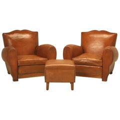 French Art Deco, Original Leather Moustache Club Chairs with Ottoman