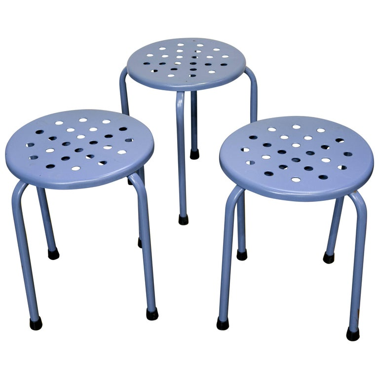 Set of Three Vintage Mid-Century Blue Perforated Blue Stools 1