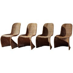 Mid-Century Wicker Dining Chairs
