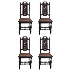 19th Century Set of Four Carved Oak Renaissance Style Chairs