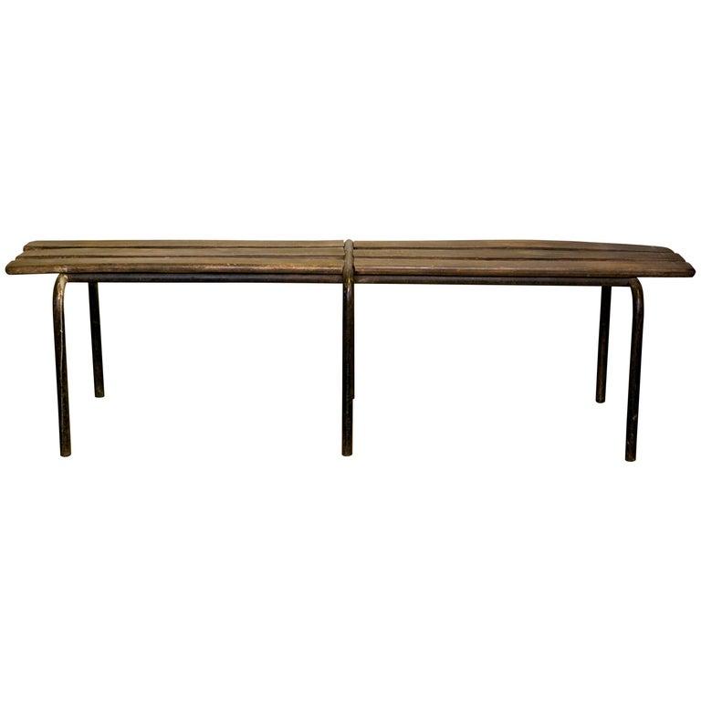 Vintage European Wood Slat Bench With Metal Base At 1stdibs