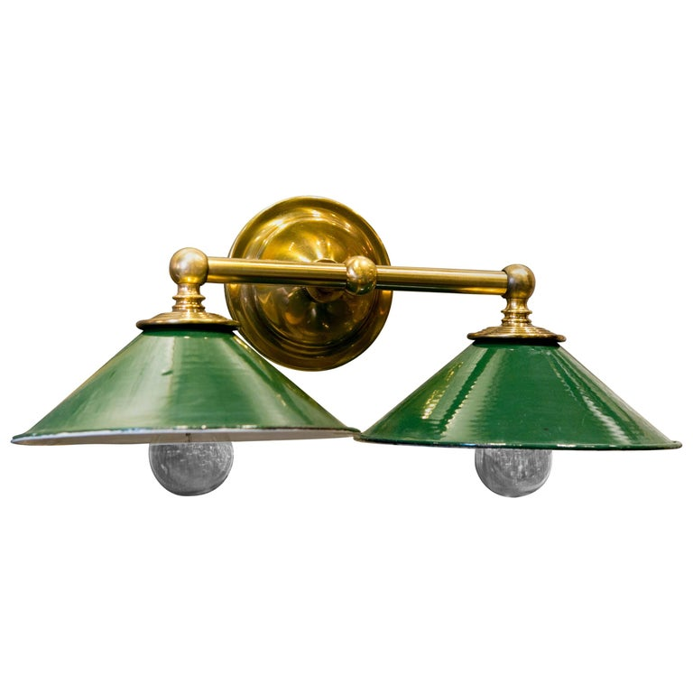Brass Wall Sconce with Green Enamel Downward Facing Shades, circa 1920 For Sale at 1stdibs