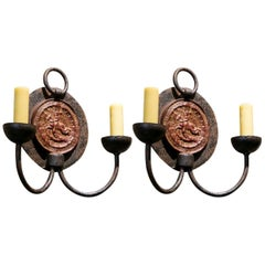 Pair of Vintage Iron Sconces with Medallion Backplate and Two Arms