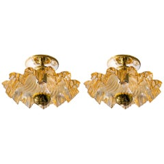 Pair of Gold Blown Murano Glass Flush Mount or Wall Mount Lights, circa 1960