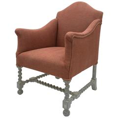 Early 20th Century French Single Upholstered Armchair with Curved Back