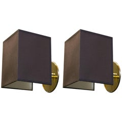 Pair of Custom Brass Sconces with Belgian Linen Shades