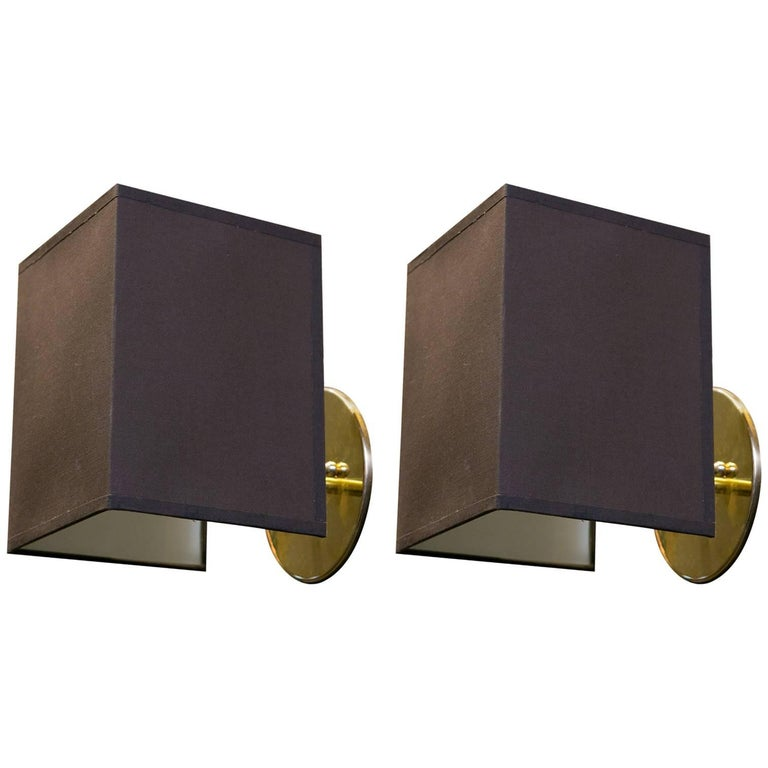 Pair of Custom Brass Sconces with Belgian Linen Shades 1