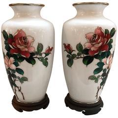 Pair of White Sato Cloisonné Vases