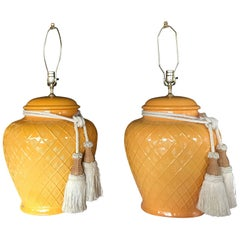 Pair of Yellow Glazed Ceramic Jardinière Lidded Vases Mounted for Lamps