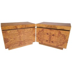 Burl Wood Mid-Century Nightstands by Roland Carter for Lane Furniture
