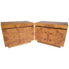 Burl Wood Mid-Century Nightstands by Milo Baughman for Lane Furniture