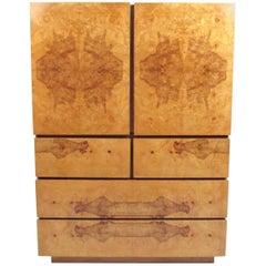 Vintage Modern Burl Wood Armoire by Lane