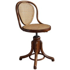 Elegant Viennese Thonet Bentwood and Webbing Ladies Desk or Piano Swivel Chair