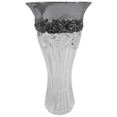 Antique Tiffany Brilliant-Cut Glass and Sterling Silver Vase