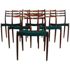 Set of Six Rosewood Dining Chairs by Niels O. Møller, Model No 78