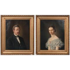 Pair of Antique 19th Century Danish Oil on Canvas Eiler Jorgensen Portraits