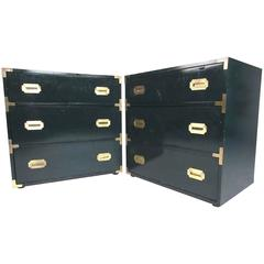 Pair of Campaign Style Dressers
