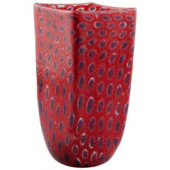 Formentello Red and Blue Murano Glass Vase