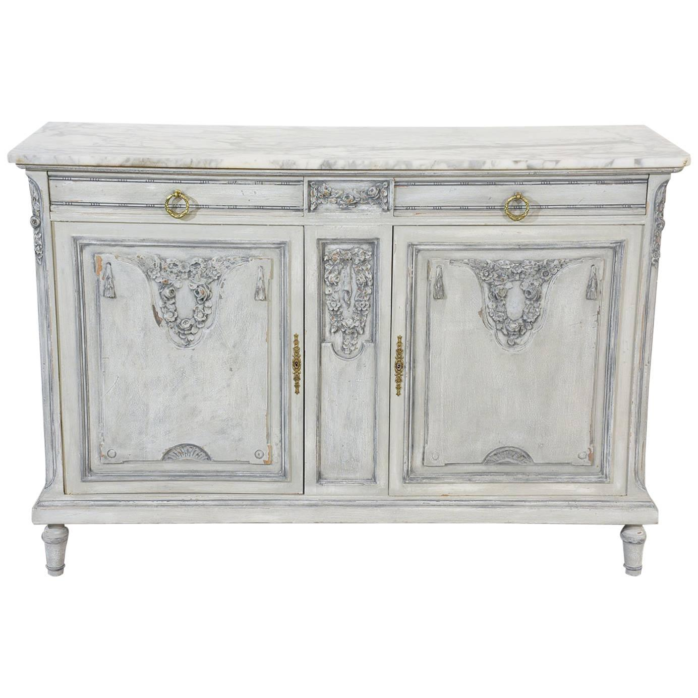 free french louis xvistyle painted buffet with marble top with buffet rouge laqu. Black Bedroom Furniture Sets. Home Design Ideas