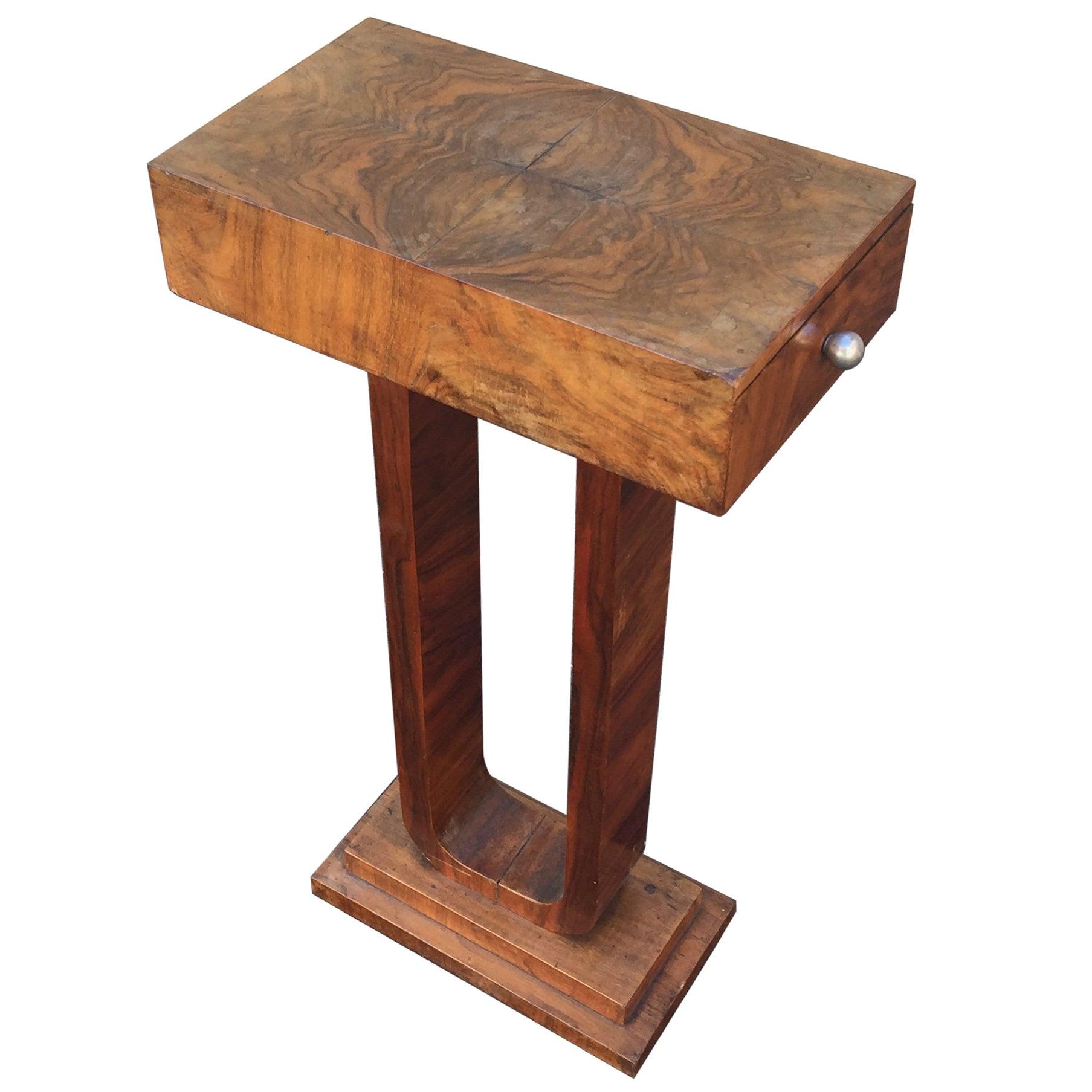 Original Art Deco Side Table in Walnut Veneer, circa 1930