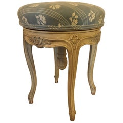 Revolving Louis XV Style Paint Decorated Vanity Seat or Piano Bench