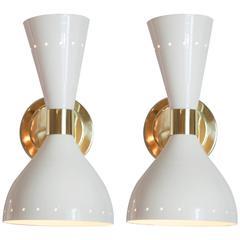 Vintage Stilnovo White Lacquer and Brass Sconces