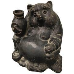 Old Japanese Folk Tanuki Handmade Hand Glazed Black Big Belly Party Animal