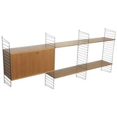 Original 1960s Modular String Wall Unit in Walnut by Nisse Strinning, Sweden
