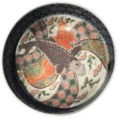 Japan Antique Set of Three Hand-Painted Koi Fish Bowls Imari, 1850