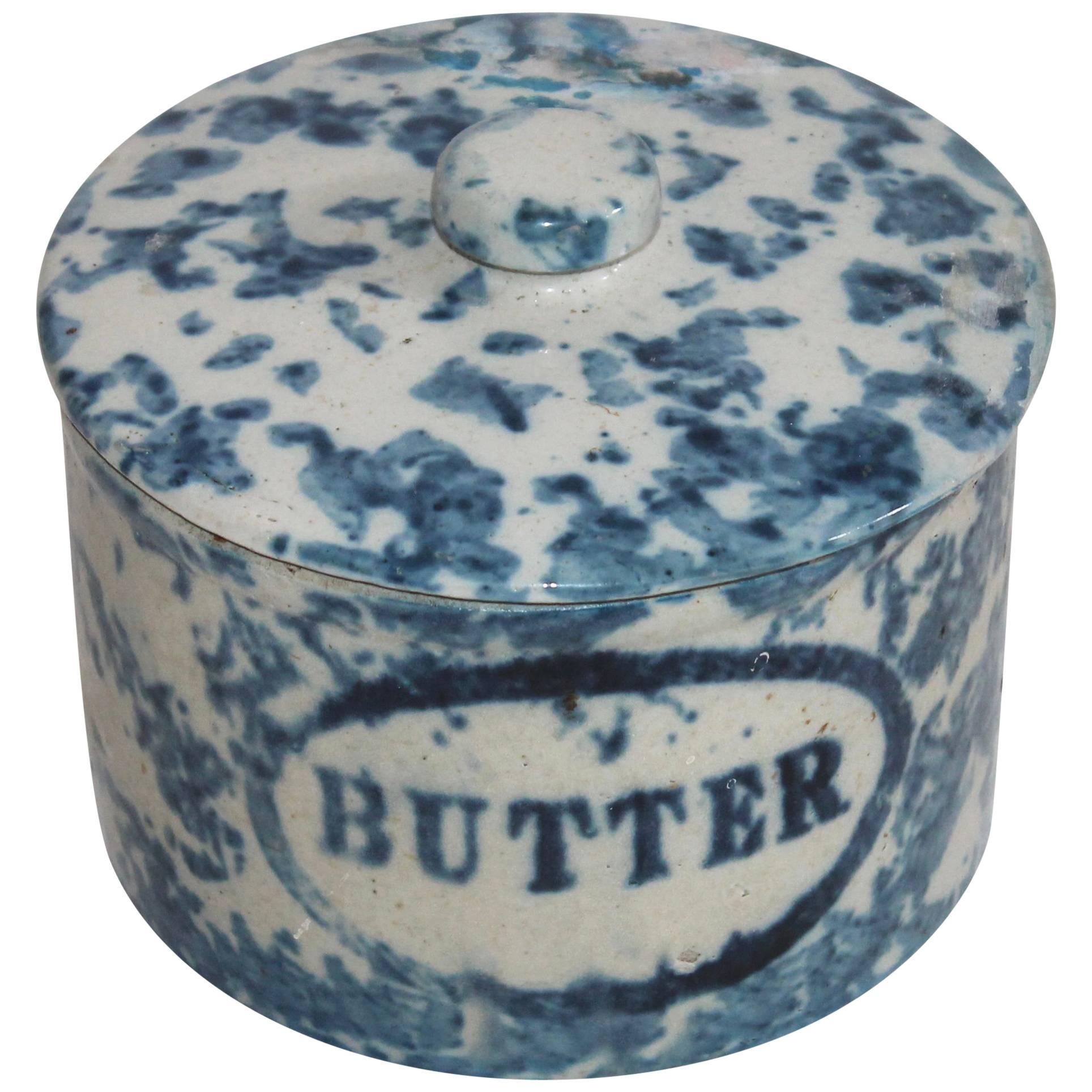 19th Century Spongeware Butter Crock