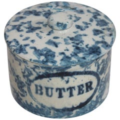 19th Century Spongeware Butter Crock