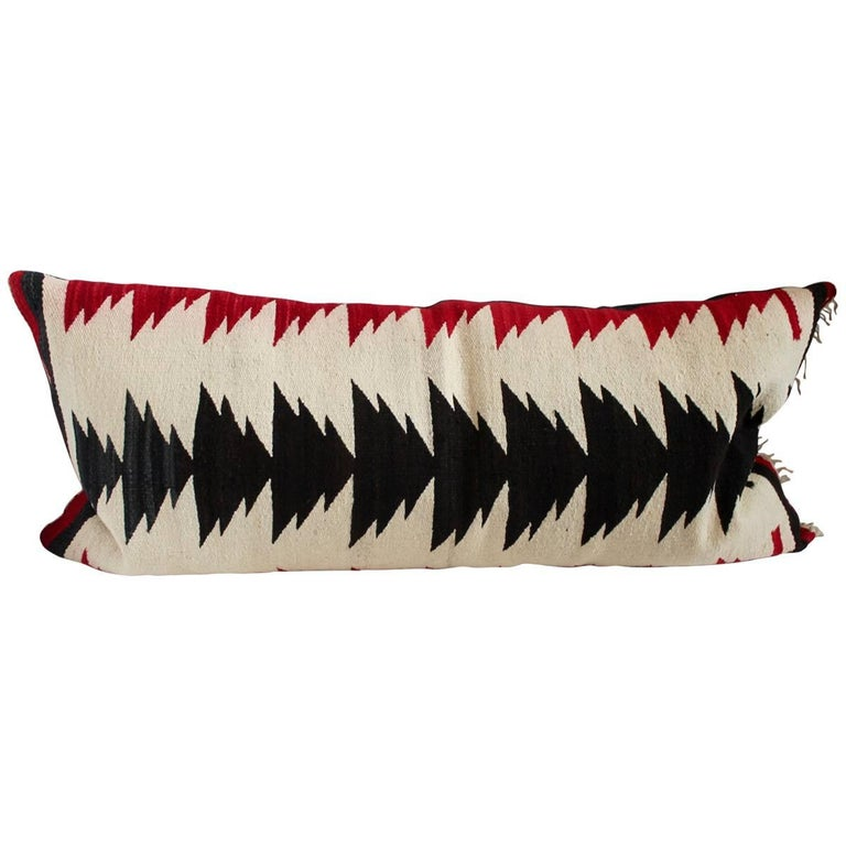 Amazing Black and Red Navajo Indian Weaving Bolster Pillow