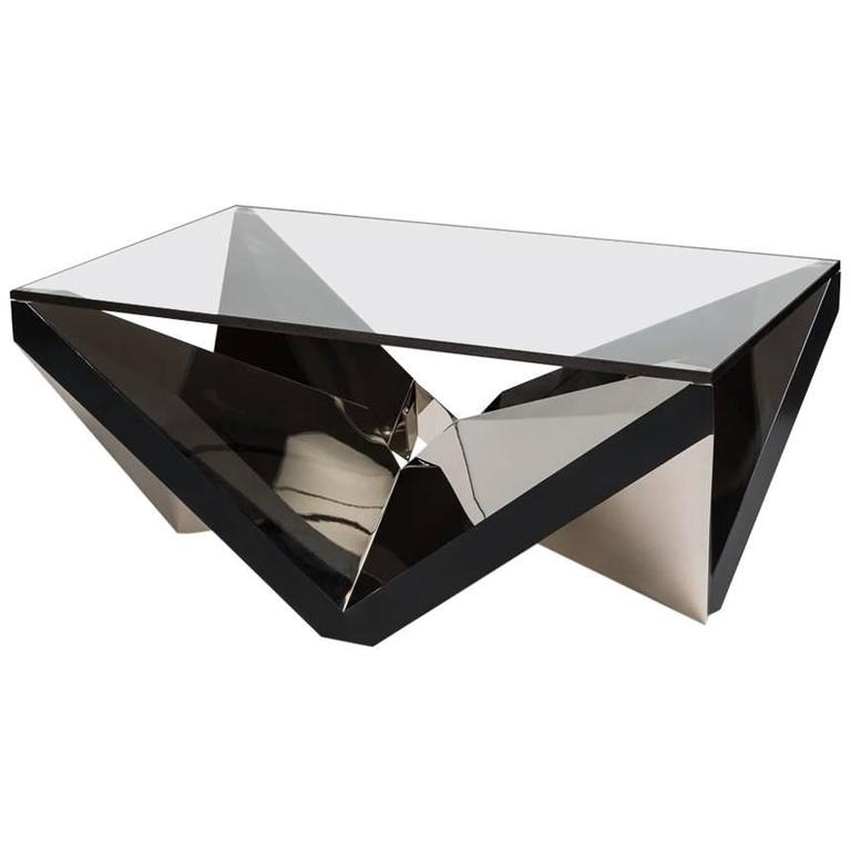 """Thick Square Black Stone Top Coffee Table With Short Black: Juan And Paloma Garrido, """"Peak"""", Coffee Table, Spain, 2017"""