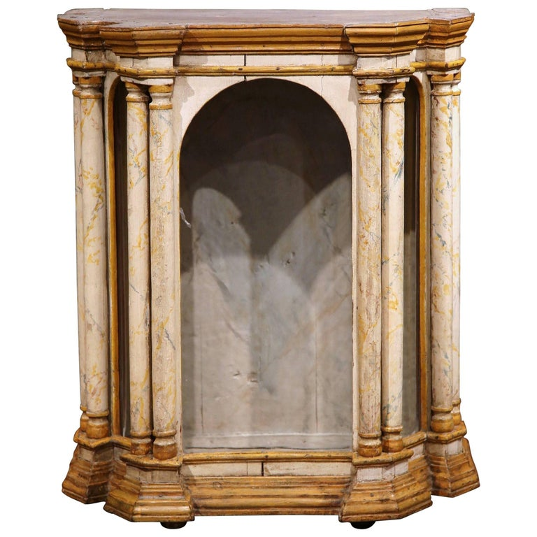 18th Century Italian Carved Painted Reliquary Cabinet with Glass Door and Sides For Sale