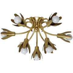Vintage Italian Nine-Arm Solid Brass Flush Mount Chandelier, 1950s