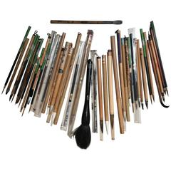 Artisan's Cache of 41 Old China Paint Calligraphy Bamboo Brushes